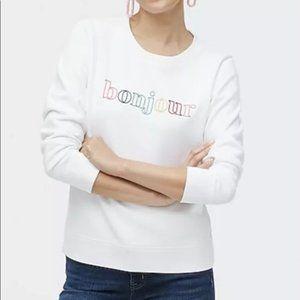 NWT J CREW FACTORY White Bonjour Sweatshirt Small